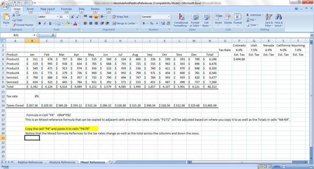 Mixed Absolute and Relative Excel Formulat Reference