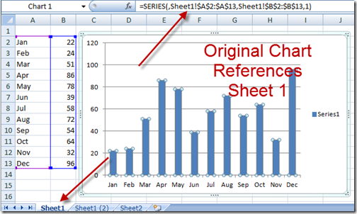 Copy Chart New Cell Reference Beginning Chart