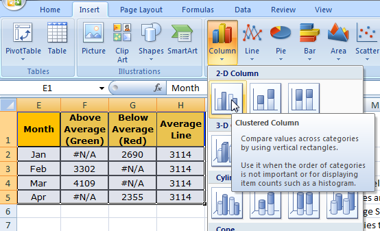 excel how to make line become columns