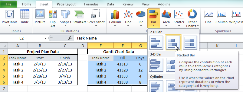 how to make a basic gantt chart