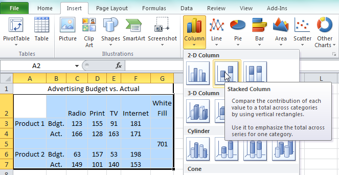 how to create a stacked bar chart in excel 2013