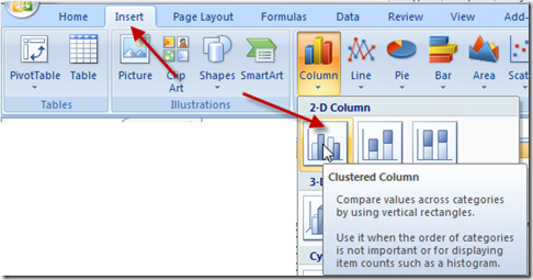 Insert Excel Clustered Column Chart