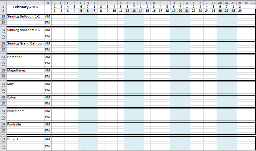 Hotel Room Occupancy Spreadsheet