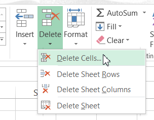 Delete Cells Button