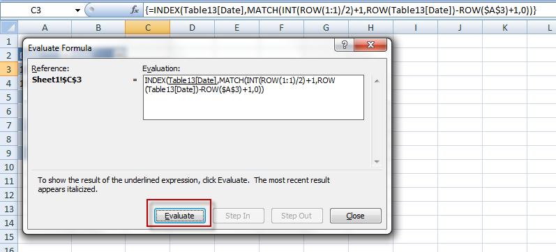 Excel Evaluate Formula Dialog Box