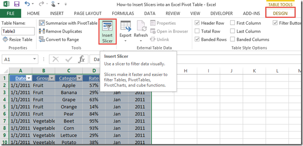 Excel dashboard templates how to insert slicers into an for Table design ribbon in excel