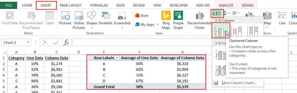 Insert Excel Pivot Chart