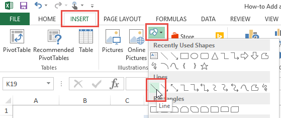Draw a Line from the Shapes Button in Excel