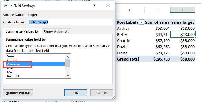 Pivot Table Goal Data Summarize Value Field by Average - Excel ...