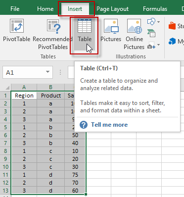 Insert Excel Table