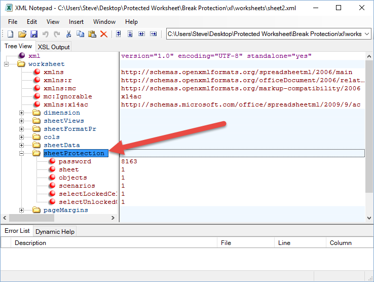 Delete Sheet Protection with XML Toolbar