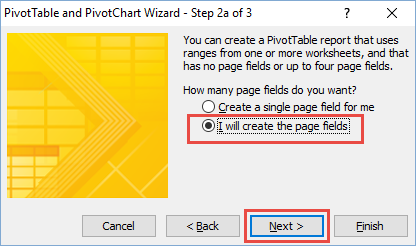 Classic Pivot Table Wizard Step 2a