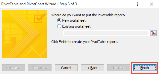 Classic Pivot Table Wizard Step 3