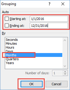 Excel Pivot Table Grouping Dialog Box
