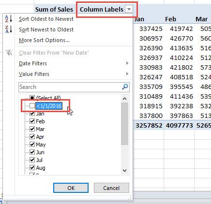 Filter Pivot Table Columns Labels