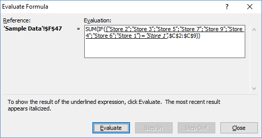 Sample Excel Array SUM and IF Evaluate Formula Step 1