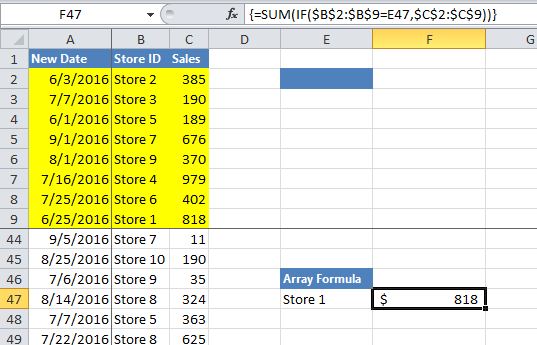 Advanced Excel Summation Skills - Using ARRAY Formulas to