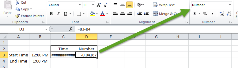 Change Number Format When Subtracting Time