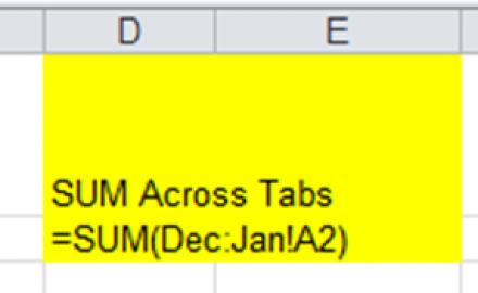 Sum Across Excel Worksheets Tabs