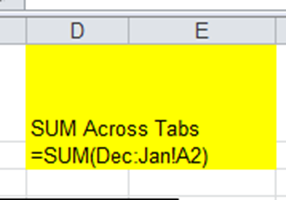 Sum Across Excel Worksheets Tabs