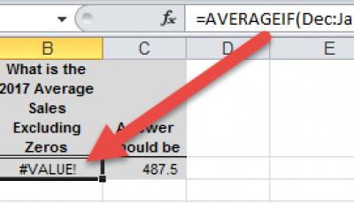 AverageIF Across Excel Worksheet Tabs AverageIF Function Result