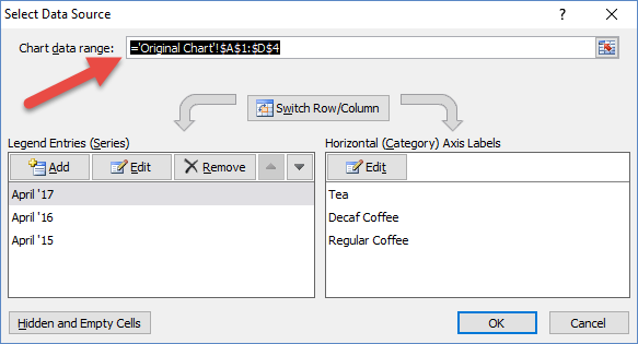 Modify Chart Data range from Select Data Source Dialog Box