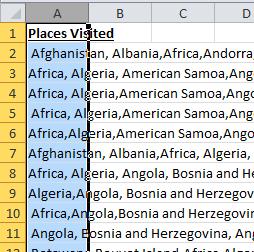 Text to Columns Select Column A