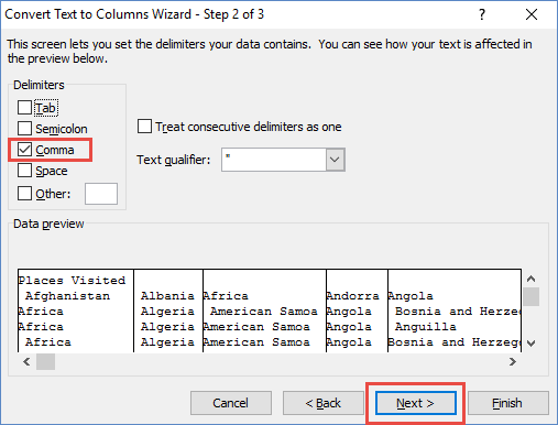 Text to Columns Wizard Comma Delimeter Checkbox