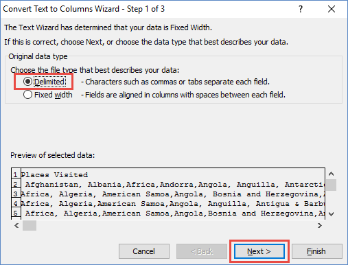 Text to Columns Wizard Delimited Checkbox
