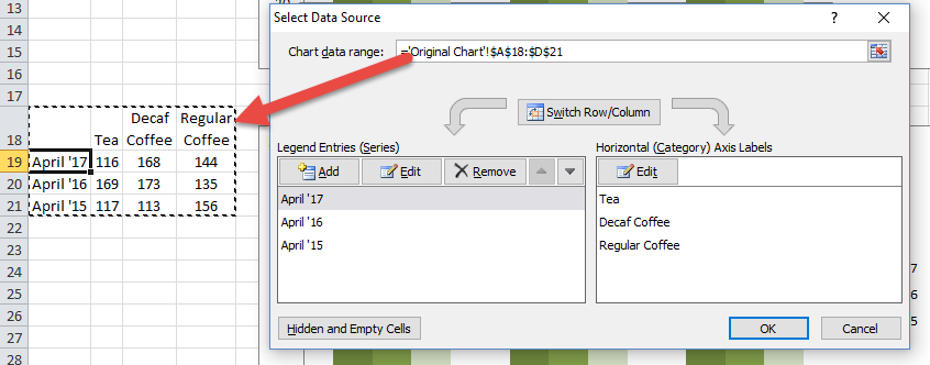 Update Chart Data range from Select Data Source Dialog Box