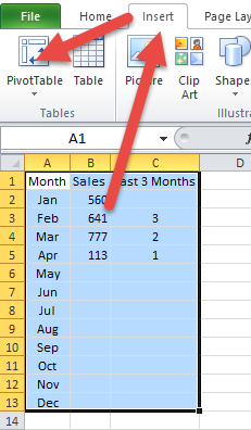 Insert Ribbon Excel Offset Chart Data