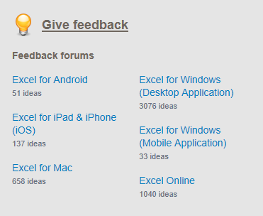 Excel Suggestion Box Feedback Forums