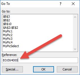Go To Dialog Box Contiguous Range