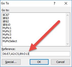 Go To Dialog Box non-Contiguous Range