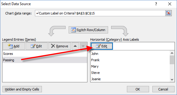 Select Data Source Dialog Box of Passing Series for Dynamic Label Threshold Chart