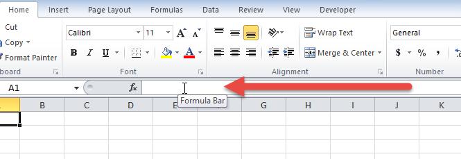 Formula Bar area
