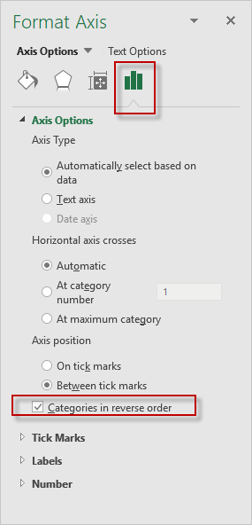 Excel 2016 Categories in Reverse Order Axis Options Dialog Box