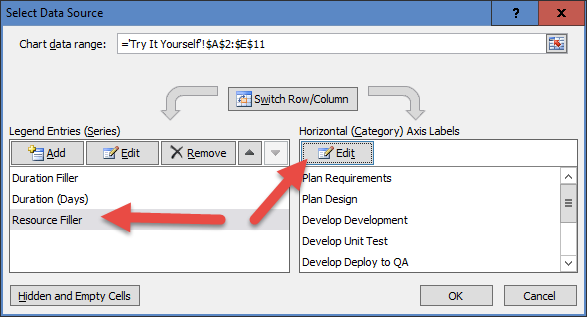 Select Data Source Dialog Box to Change 2nd Axis Categories