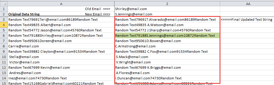 Find And Replace from a List of Multiple Emails in Excel