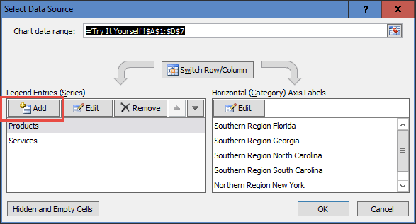 Select Data Source - Add Legend Entries Series