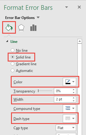 Create Vertical Line Between Columns Vertical Error Bars Line Options Dialog Box
