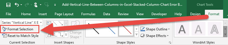 Create Vertical Line Between Columns with Error Bars Format Selection