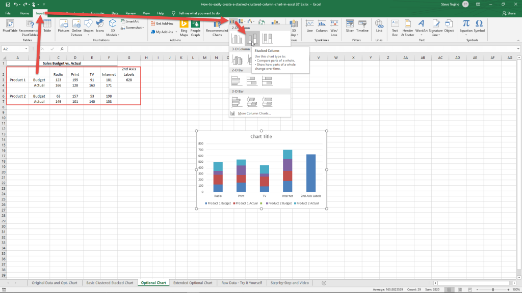 Clustered Stacked Column Chart Optional 2nd Axis Insert Chart