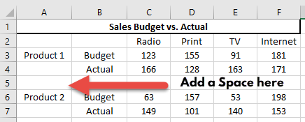 Clustered Stacked Column Chart Optional Add Space in Inserted Row for Gap